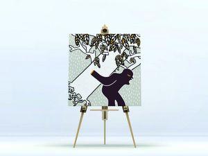 la Magie dans l'Image - toile ogre arbre fond gris - Digital Foliendruck