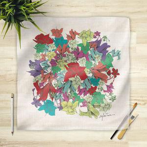 la Magie dans l'Image - foulard fleurs motif - Vierecktuch
