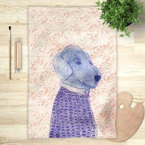 la Magie dans l'Image - foulard mon petit chien fond rose - Vierecktuch