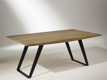 Robin des bois - table de salle à manger chêne massif, pieds métal, - Rechteckiger Esstisch