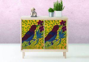 la Magie dans l'Image - adhésif oiseau bordeaux - Sticker