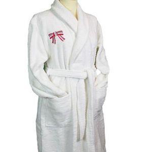 Liou - peignoir de bain blanc so chic rose - Bademantel