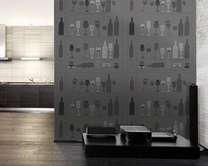 IN CREATION - verres et bouteilles graphiques gris - Tapete