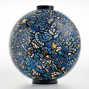 EMAUX DE LONGWY - city of stars - Große Vase