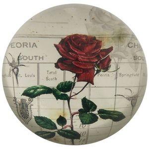 CHEMIN DE CAMPAGNE - presse papier sulfure rond bombé motif rose rouge  - Briefbeschwerer