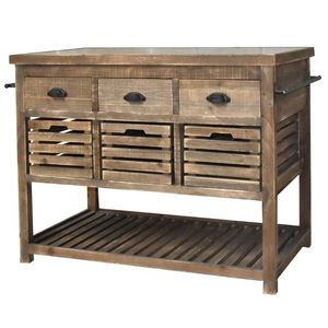 CHEMIN DE CAMPAGNE - meuble ilôt central billot console bahut buffet ta - Kochinsel