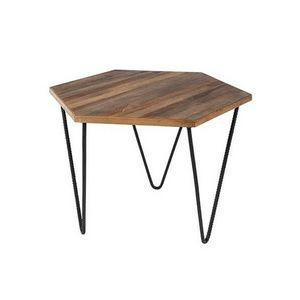 Mathi Design - table basse en teck polygone - Originales Couchtisch