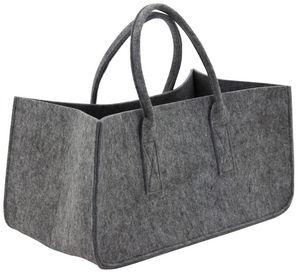 Aubry-Gaspard - sac à bûches gris en feutrine - Kaminholzträger