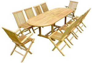 jardindeco - salon en teck table ovale - Garten Esszimmer