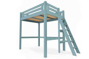 ABC MEUBLES - abc meubles - lit mezzanine alpage bois + échelle hauteur réglable bleu pastel 160x200 - Andere Verschiedene Schlafzimmermöbel