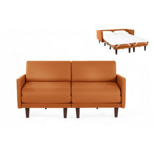 Likoolis - pacduo80l-cuirdevonorange - Schlafcouch