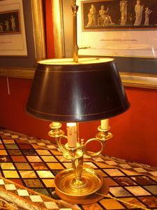 Antiquités Eric Bonneton - lampe bouillotte cor de chasse - Bouillotte Lampe