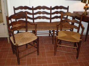 Philippe Pope - banquette et ses 2 fauteuils - Stuhl Mit Korbsitzfläche