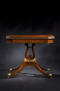 CARSWELL RUSH BERLIN - very fine parcel-gilt mahogany lyre-base games tab - Spieletisch