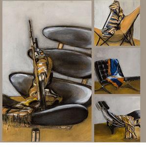 MARTINE SERGNI DECORS - drapés sur fauteuil - Zeitgenössische Gemälde