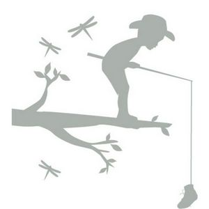 Decogalerie - petit sticker léo petit pêcheur - Kinderklebdekor