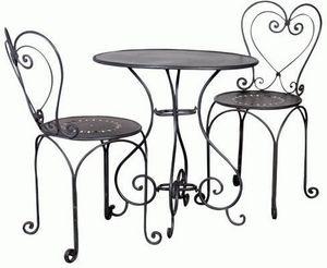 featureDECO - black metal oval table - Rundes Gartentisch