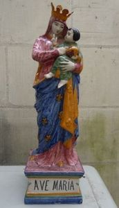 Art & Antiques - malicorne xixe - Marienfigur Mit Kind