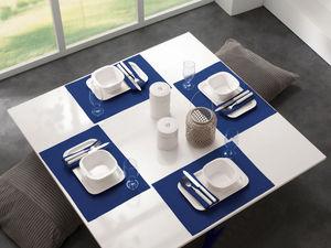 BLANC CERISE - lot de 2 sets de table - lin déperlant - uni, brod - Tisch Serviette