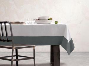 BLANC CERISE - nappe - blanc et gris - lin déperlant - unie, brod - Rechteckige Tischdecke