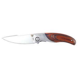 WHITE LABEL - couteau pliant eygrund avec manche métal et bois - Küchenmesser