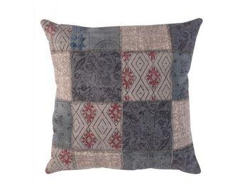 BLANC D'IVOIRE - noe patchwork bleu - Kissen Quadratisch