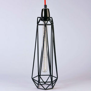 Filament Style - diamond 2 - suspension noir câble rouge ø12cm | la - Deckenlampe Hängelampe