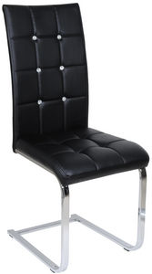 COMFORIUM - chaise capitonnée simili cuir noir et métal - Stuhl