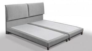 WHITE LABEL - lit design haut de gamme balzac 140*190 cm tissu t - Doppelbett