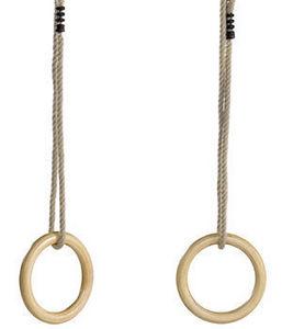 Kbt - anneaux de gym bois avec cordes chanvre - Schaukelzubehör