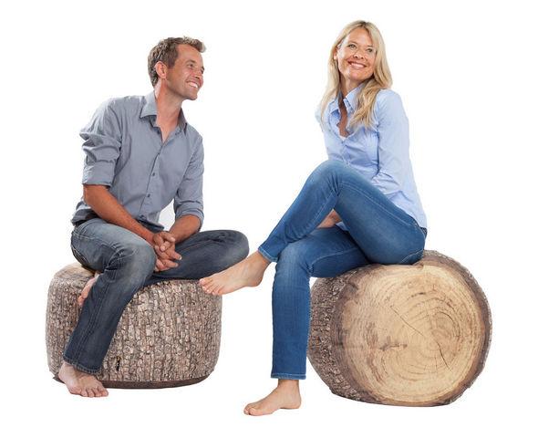 MEROWINGS - Sitzkissen-MEROWINGS-Forest Stump Indoor Pouf