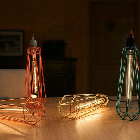 Filament Style - Deckenlampe Hängelampe-Filament Style-DIAMOND 2 - Suspension Noir câble Rouge Ø12cm | La