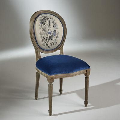 Robin des bois - Medaillon-Stuhl-Robin des bois-2 Chaises Médaillon en Velours Bleu Indigo