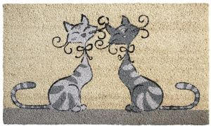 Aubry-Gaspard - paillasson chats amoureux en coco et latex 75x45cm - Felpudo