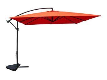 WHITE LABEL - parasol carré terracotta 3m² - chill - l 300 x l 3 - Sombrilla Con Soporte Lateral