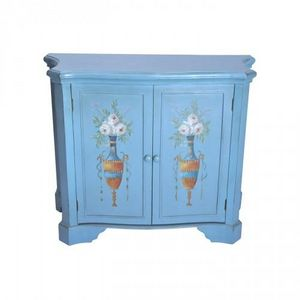 Demeure et Jardin - buffet bleu 2 portes urnes fleuries - Aparador Alto