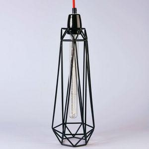 Filament Style - diamond 2 - suspension noir câble rouge ø12cm | la - Lámpara Colgante