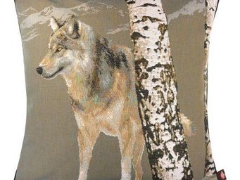Art De Lys - loup en hiver, fond gris - Cojín Cuadrado