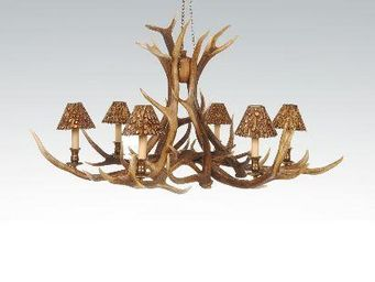 CLOCK HOUSE FURNITURE - chandelier - 6 arm red deer - Araña