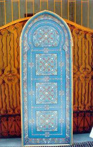 Artiwood Maroc - porte en cèdre massif peinte à main - Puerta Antigua