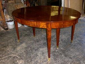 Antiquités Eric Bonneton - table à rallonges en acajou avec bandeau époque di - Mesa Extensible