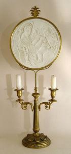 KUNST UND ANTIQUITATEN EHRL - neoclassical candleholder with lithophane madonna - Candelabro