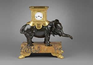 F P FINE ART - elephant clock - Reloj De Apoyo