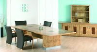Act Furniture Manufacturers - nimbus pippy oak with burr walnut flaps and silver - Mesa De Reunión