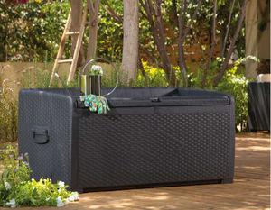 Chalet & Jardin - coffre de rangement banc 400 litres en résine 134x - Baúl De Jardín