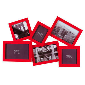 Maisons du monde - cadre 6 vues relief rouge - Marco Multivistas
