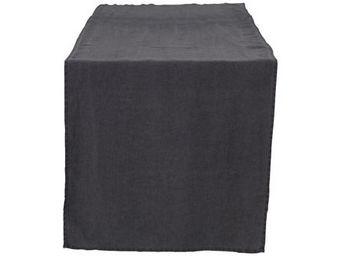 Athezza Home - chemin de table lin lav� anthracite 50x150cm - Centro De Mesa
