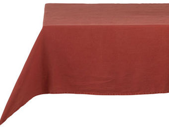 Athezza Home - nappe lin lav� rouge 150x150cm - Mantel Rectangular