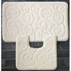 ILIAS - tapis salle de bain et toilette boucles beige - Alfombra De Baño