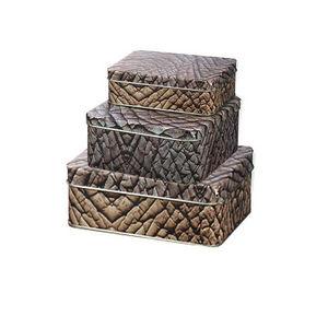 WHITE LABEL - 3 boîtes jungle motif éléphant en métal - Cajas De Galletas
